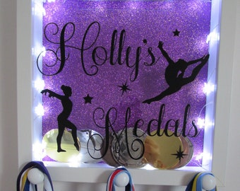 Gymnastics Medal Hanger Display Box Personalised Wall Hanging Shadow Box Gymnast Dancer Gift with LED light up option