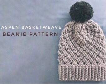 Aspen Basket Weave Beanie Pattern - Crochet Beanie Pattern - Intermediate Level Crochet Pattern