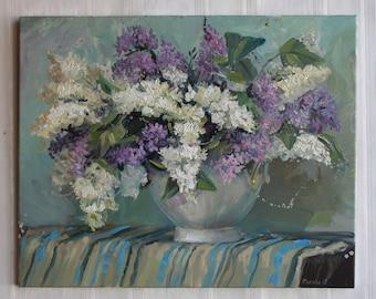 Bouquet lilac White lilac painting Original oil painting White Still life Gift painting Spring Wall Art White purple green Oil Fine ART