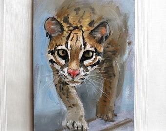 Animal ocelot original oil painting Grey brown wall art Animal Big Cat artwork animals painting Wild cat Art Gift painting