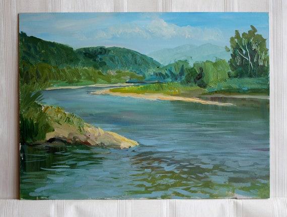 Fluss Natur Malerei ORIGINAL Öl Freilichtmalerei | Etsy
