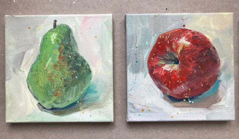Set of 3 art Original oil painting Apple red yellow Abstract image 0