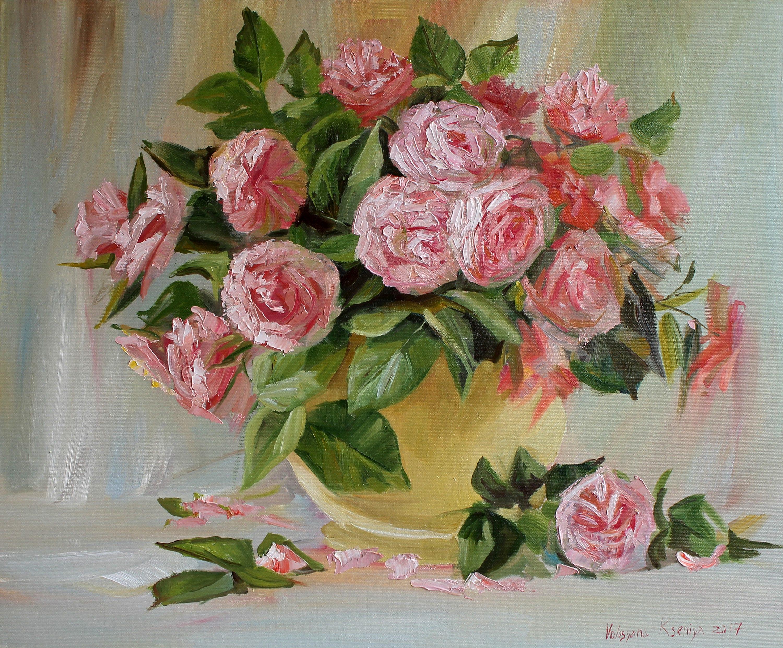 Still Life Oil Rose Art Bouquet Pink Roses Original Oil Etsy