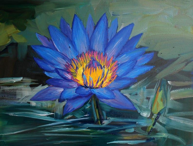Blue Lotus Flower Original Oil Painting Blue Yellow Green Wall Etsy