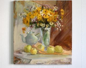 Original oil painting Yellow bouquet flower Still life apple Boquet wildflowers vase