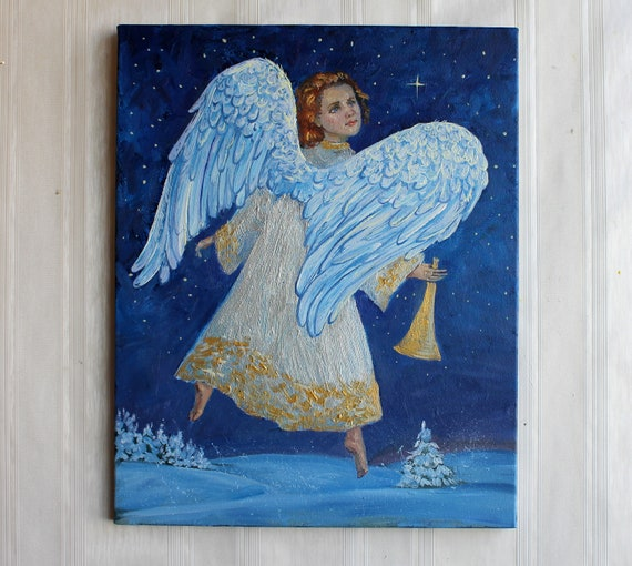 Angels wings ORIGINAL oil painting Christmas angel painting Blue sky Gift  Canvas Little angel White blue silver gold Art Holiday Gift 16*20