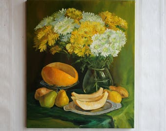 White yellow flowers Oil painting Still life pear melon Gift for housewarming Flower Living room décor Original Chrysanthemum art Still life