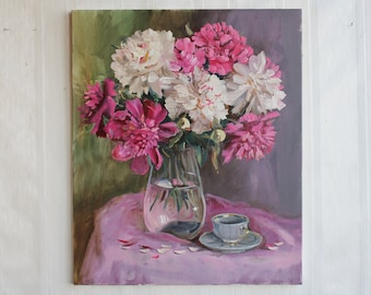 Peony painting ORIGINAL oil paint Pink White flowers  in vase Bright art Peony Floral still life Сanvas Gift Wall art home decor picture