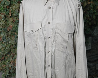 3f31a08b2 Vintage Beige Sand Mens s Military Safari Style Shirt . Army Beige Vintage  80s Long Sleeve