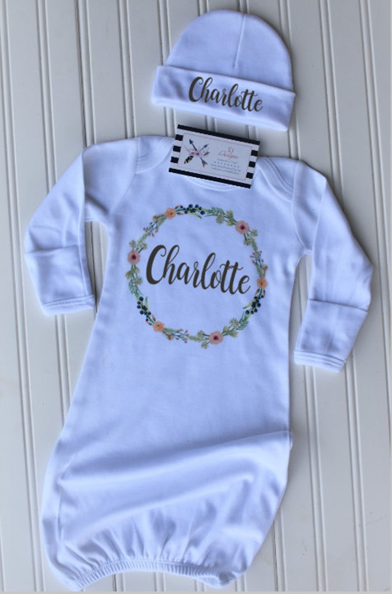 Customized Baby Gown Baby shower gift Baby Gown coming home outfit Custom baby gift Personalized Baby Gown Baby Floral Gown
