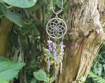 Amethyst Dreamcatcher Necklace, Dream Catcher Necklace, Amethyst Necklace, Purple Necklace , Gemstone Necklace , Amethyst Jewellery,Amethyst