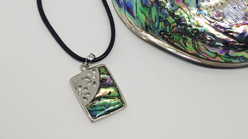Black Corded Necklace Flower Plate Design Abalone Pendant Abalone Jewelry REDUCED Abalone Necklace