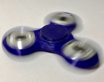 Galaxy Blue Fidget Spinner, Cosmic Blue, Finger Spinner, Classic Tri- Spinner Model, 3D Printed Fidget Toy, Customized Cap Color