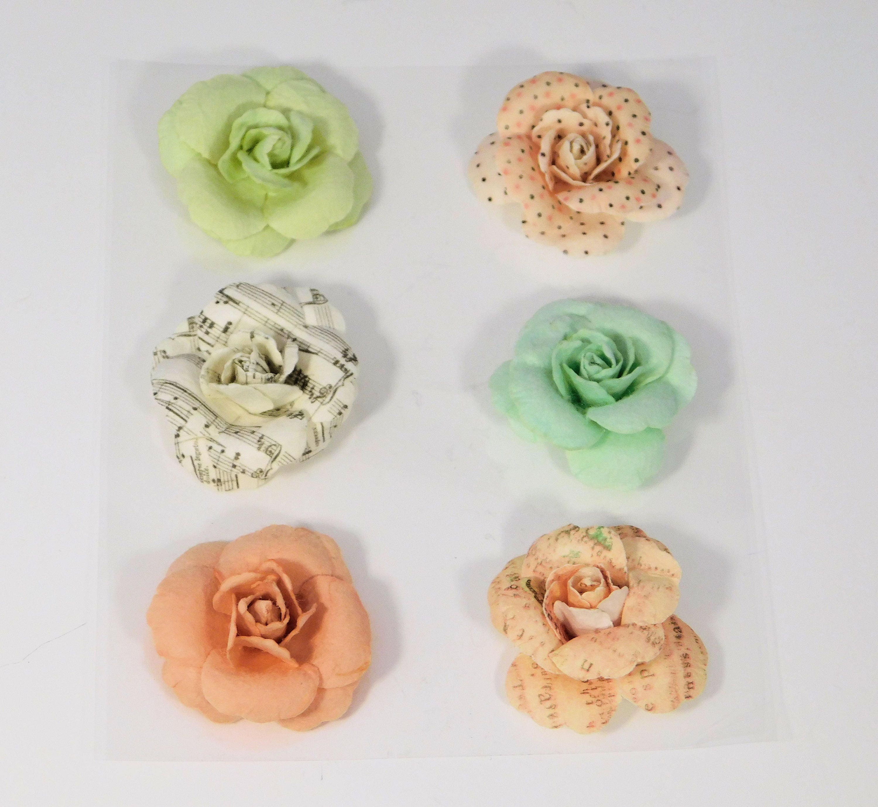 Paper Flowers Roses Polka Dots Pinks Wild Roses Crafting Scrapbooking Crafts Diy Floral Mint Lime Music Notes Printed Words