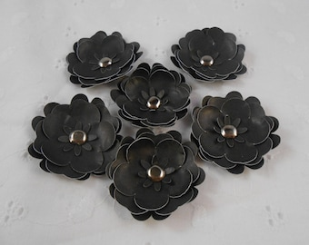 Handmade Paper Flowers Black with brad centers Set of 6 embellishments crafts scrapbooking cards silver brads supplies