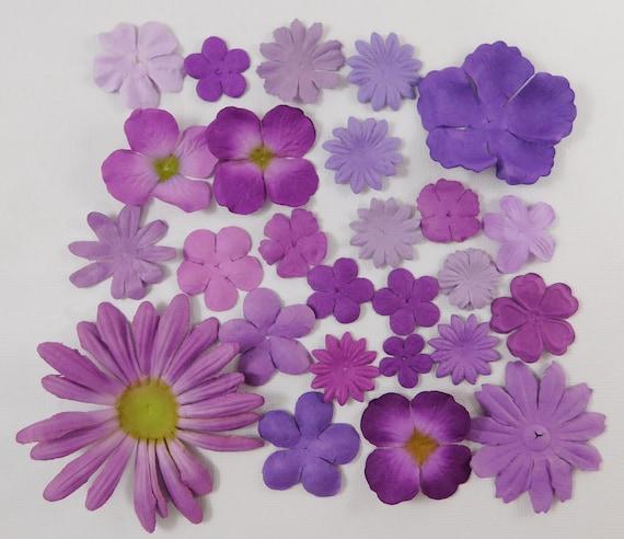 Prima Paper Flowers Purple Assortment No 525 Got Flowers prima flowers sampler lilac plum lavender daisy crafts scrapbooking card making