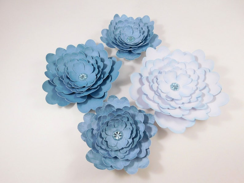 Large Handmade Paper Flowers White Weathered Muted Blue embellishments scrapbooking crafting crafts floral wedding wall home decor