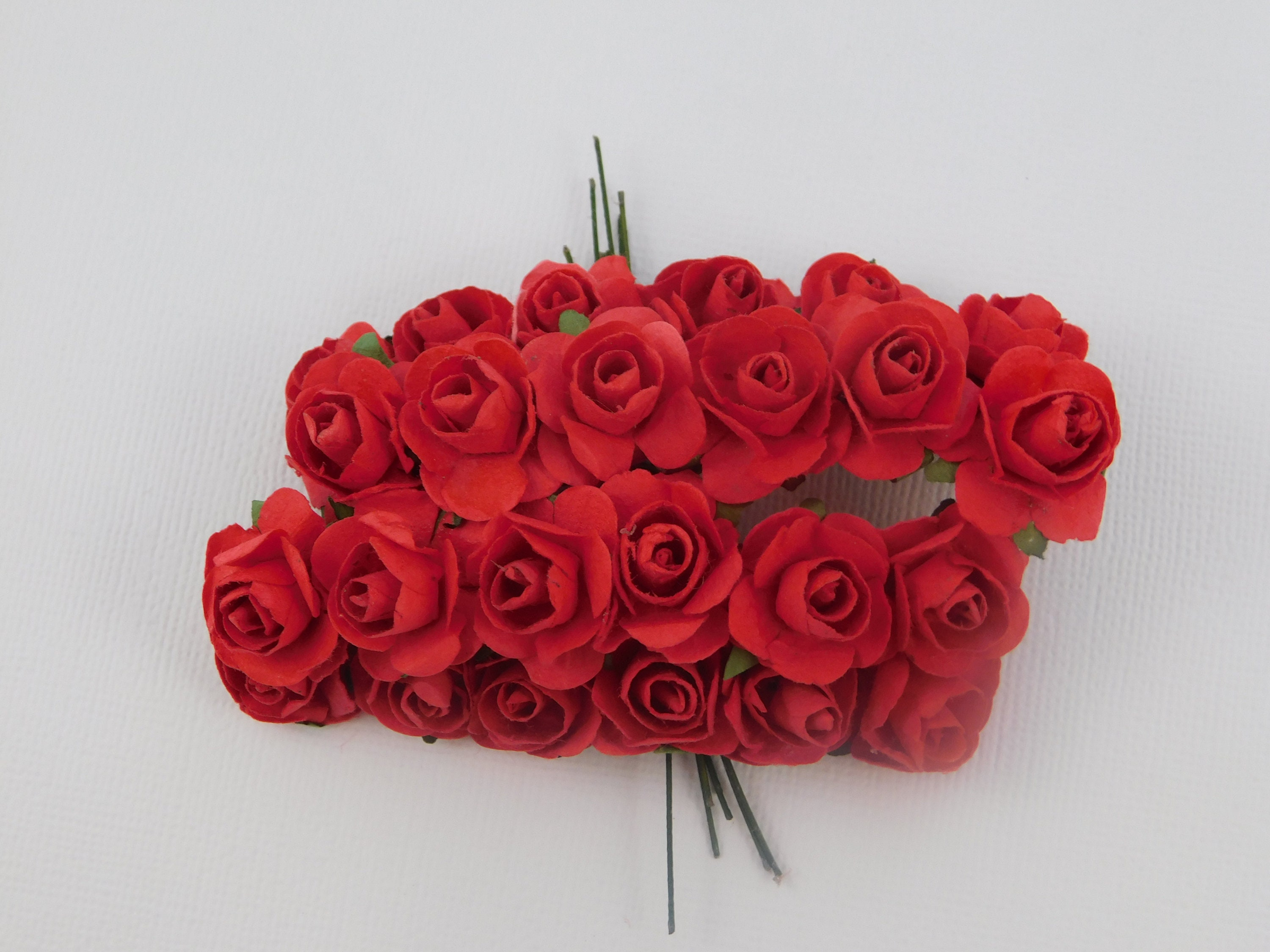 Red Mini Paper Flowers Roses With Stems Supply Floral Flowers Etsy