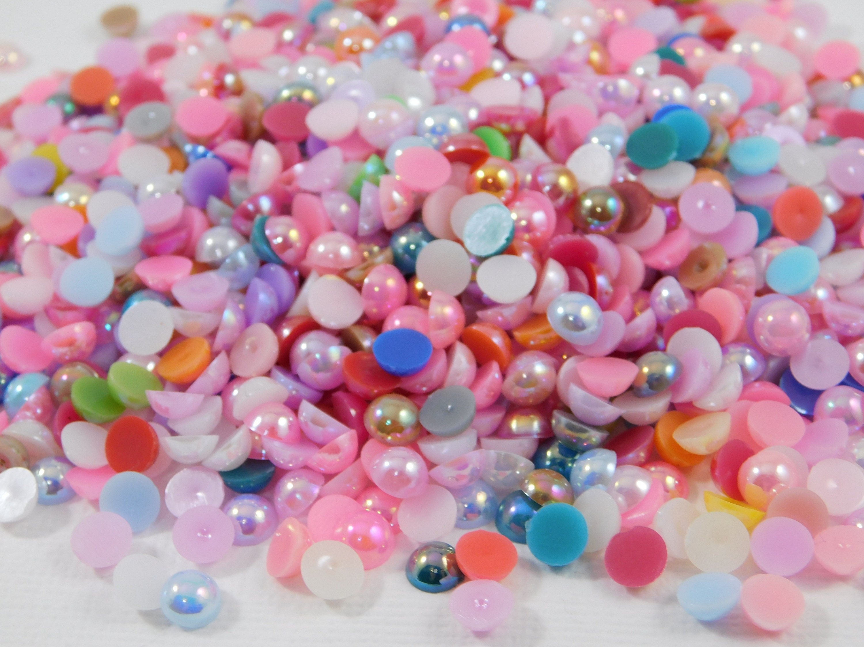 100 Black Flat Back Pearl Adhesive Embellishments 4mm Scrapbooking Embellishment