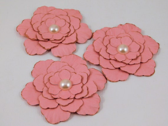 Handmade Paper Flowers Pink Embellishments Accessories Card Etsy