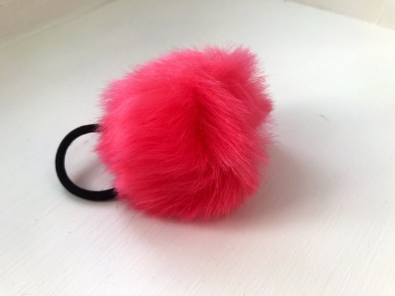 Hot Pink Pom pom hair ties pom pom hair band Pom Pom hair  8ad8969fa1e