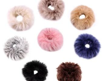 Faux Fur Scrunchie, hair scrunchie, faux fur accessories, scrunchie hair ties, faux fur hair elastics, faux fur hair accessories