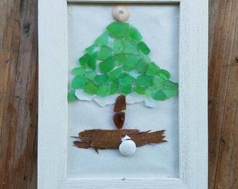 Handmade Sea Glass Christmas Tree.Sea glass,holiday decor,home decor,Christmas decorations,coastal Christmas, sea glass art,mosaic,gifts