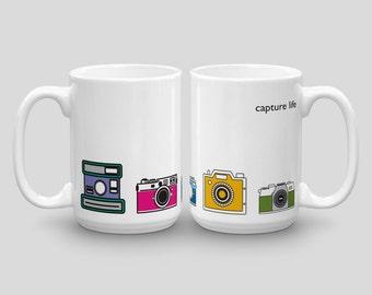 Capture Life, Camera Mug, Photography Mug, Photographer Mug for Him, Inspirational Coffee Mug Gift, Unique Coffee Cup, Cute Mug for Her