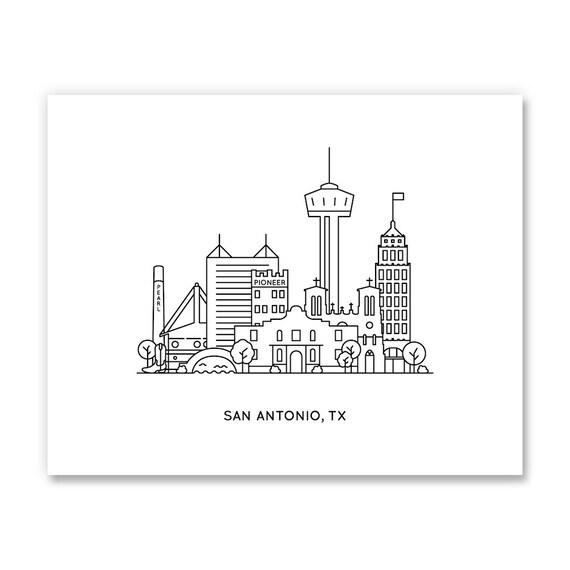 San Antonio Skyline Art Print San Antonio Texas Artwork San Antonio Wall Art San Antonio Tx San Antonio Gift San Antonio Art