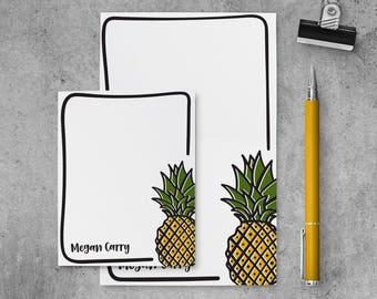 Personalized Notepad Set | Pineapple Notepad | Pineapple Stationery Set | Personalized Pineapple Stationary | Pineapple Lover | PSNTP_0066
