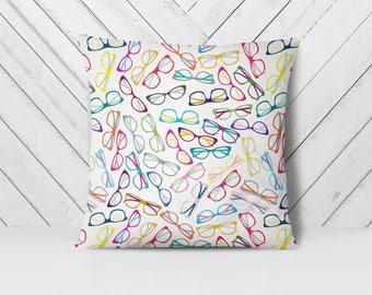 Decorative Throw Pillows 18x18 | Eyeglasses Pillow | Hipster Glasses Pillow | Eyeglass Pillow | Nerd Throw Pillow | Geek Pillow 18 x 18