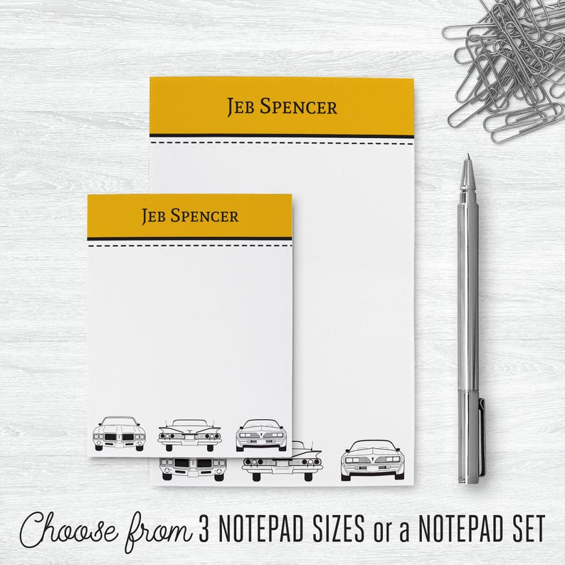Car Stationary Set PSNTP/_0057 Car Lover Gift Car Gifts for Him Personalized Notepad Set Car Custom Notepad Car Enthusiasts Gift