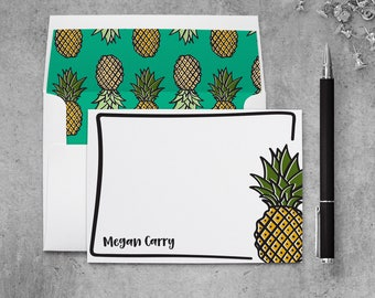 Personalized Note Card Set | Pineapple Stationery Set | Personalized Pineapple Stationary Set | Pineapple Notecards | PSFLN_0066