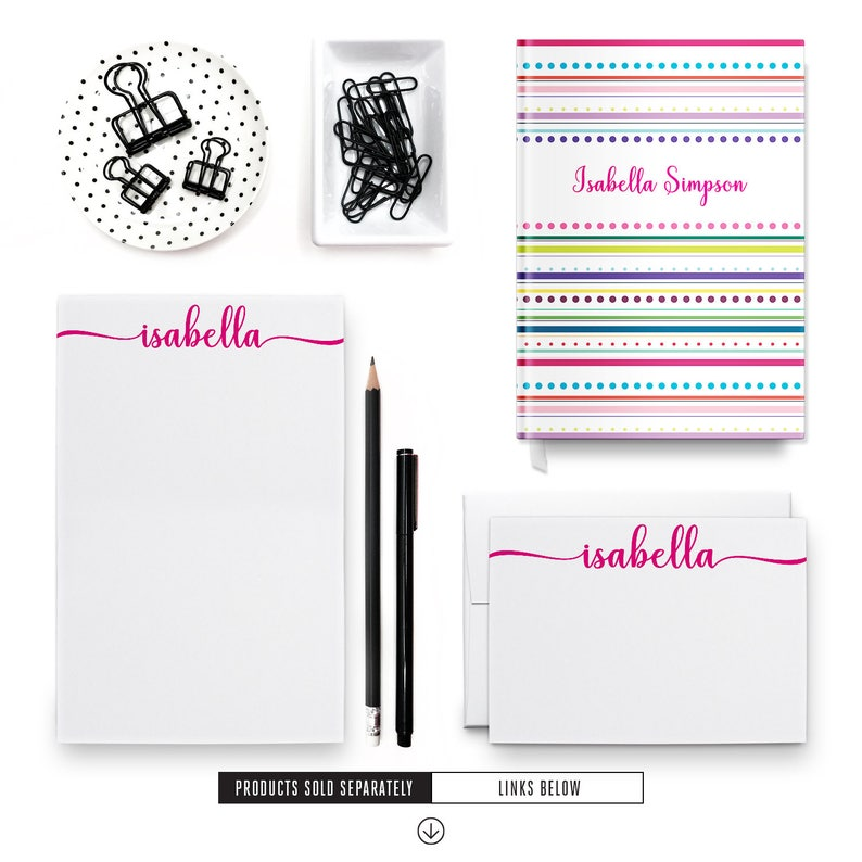 Personalized Notepad Set Stationery for Girls Calligraphy Notepad PSNTP/_0038 Notepad for Women Girl Stationary Women Notepad