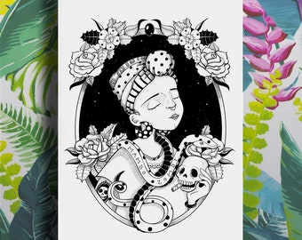 Marie Laveau, Voodoo mambo, poster, art print, black and white girl illustration, witch, tattoos, poster, occult, snake, skull