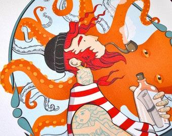 Kraken, Marine Sea Poster, A3 Poster, Ocean Sailor, Octopus, Octopus, tattoo, sea, beach, Brittany