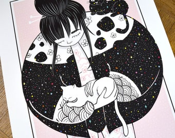 La Dame aux Chats, Cats Girl, poster, art print, black and white girl illustration, animal decoration, tattoos, poster