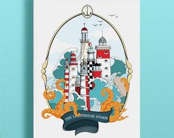 The Lighthouse Storm, A3 Poster Lighthouse, Poster Sea, Ocean, Octopus, Octopus, tattoo, sea, beach, Brittany,kraken
