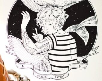 Sailor Tattoo Marin Poster Drawing Whale Whale Whale Decoration Gift
