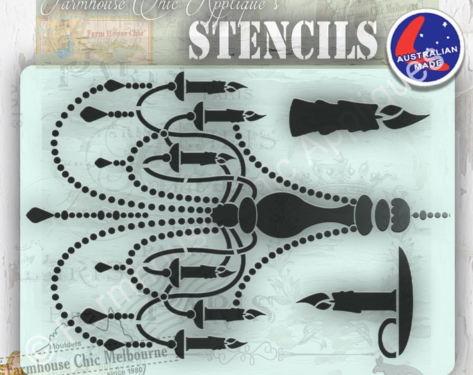 Chandelier Stencil, Vintage Stencil, Mylar Furniture Stencil, French Style Vintage Stencil, Art Stencil, Shabby Chic, Pochoirs de meubles