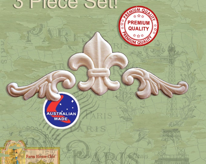 3 Piece Set Fleur de lys & Scrolls  French Provincial Ornamental Furniture Mouldings,  Appliques Decorations Resin / Wood Appliques