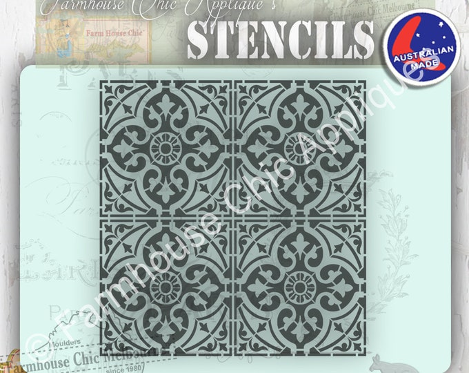 Moroccan Tiles Mylar Furniture Stencil, French Morocco Style Vintage Stencil, Art Stencil Cake Stencil, Pochoirs de meubles, Cushion Stencil