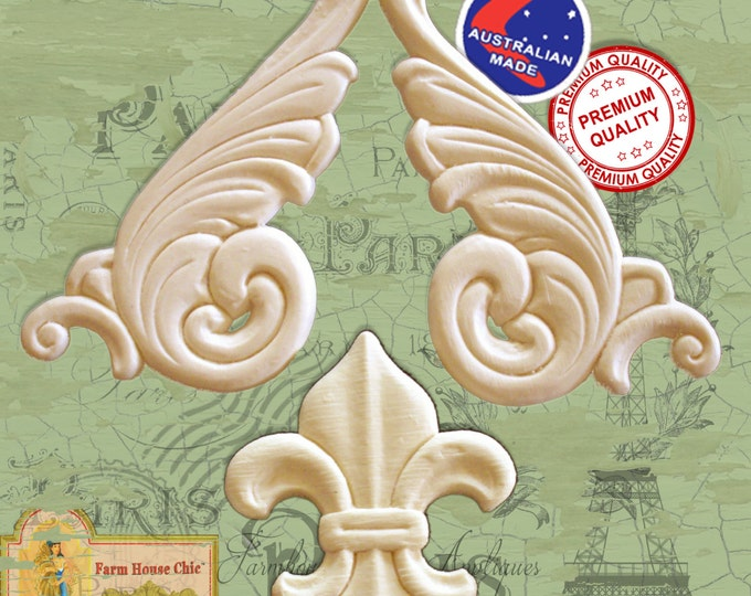 3 Piece Set Fleur de lys & Scrolls  French Provincial Ornamental Furniture Mouldings,  Appliques Decorations Resin / Wood Appliques