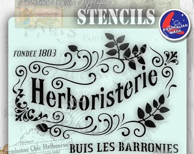 Herboristerie  Pochoirs de meubles Mylar Furniture Stencil, French Vintage Stencil, Artist Stencil, Cake Stencil, French Stencil.
