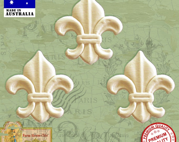 Shabby Chic French Provincial ~ 3 x Fleur de lys Furniture Appliques Moudings. Furniture Applique, Decorations, DIY French Style Furniture