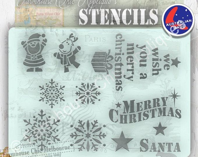 Christmas Stencil, Mylar Stencil,  Merry Christmas Stencil, Snowflake Stencil, Santa Stencil, Christmas Themed Stencil, Christmas Decoration