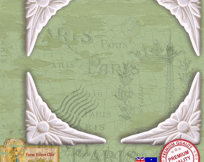 Set of 4 x Shabby Chic French Furniture Mouldings, Furniture Appliques, Furniture Carvings, Furniture Decorations. Made in Australia
