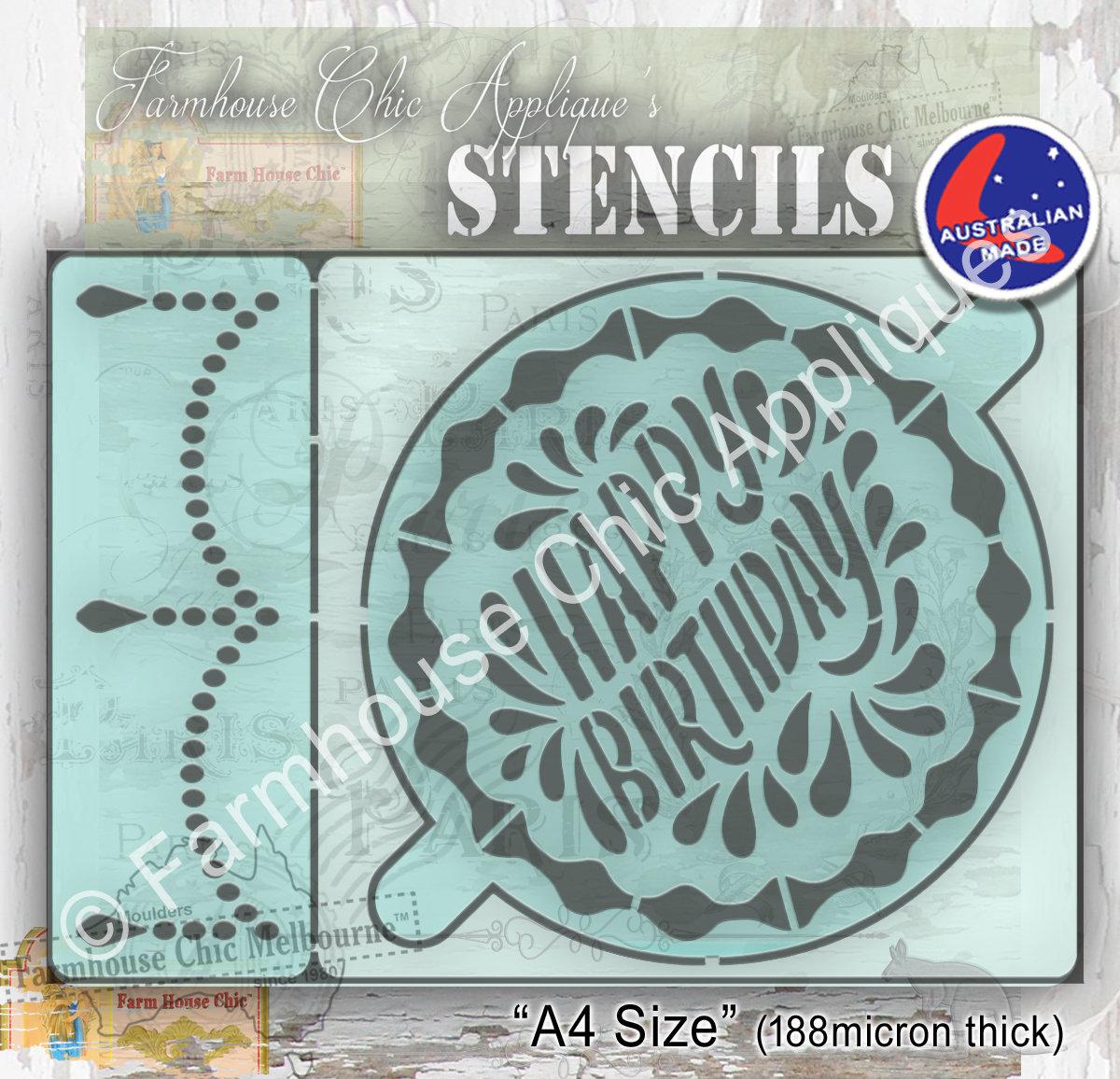 Fine Happy Birthday Cake Stencil Cake Stencil 2 Parts Reusable 7 1 2 Personalised Birthday Cards Vishlily Jamesorg
