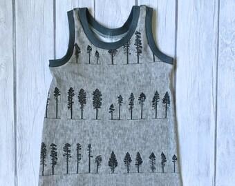 Romper, baby romper, toddler romper, organic romper, organic baby clothes, tank top romper in pine tree print