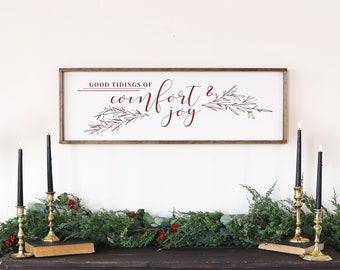 Comfort and Joy Wood Sign  | Farmhouse Christmas Sign | Farmhouse Christmas Wall Decor | Rustic Christmas Decor